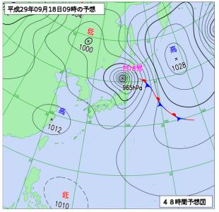 9月18日(月祝)9時の予想天気図