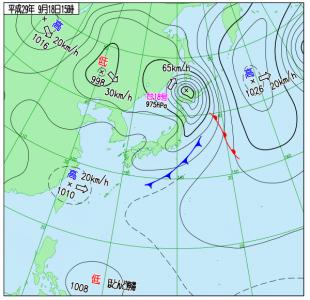 9月18日(月祝)15時の実況天気図