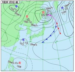 9月19日(火)6時の実況天気図