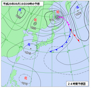 9月9日(火)9時の予想天気図