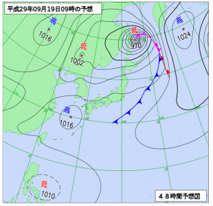 9月19日('火)9時の予想天気図