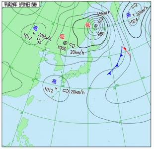 9月19日(火)15時の実況天気図