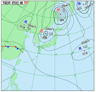 9月20日(水)6時の実況天気図