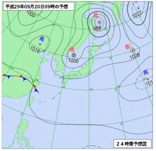 9月20日(水)9時の予想天気図