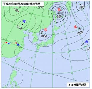 9月10日(水)9時の予想天気図