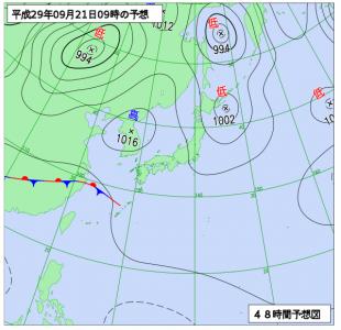 9月21日(木)9時の予想天気図
