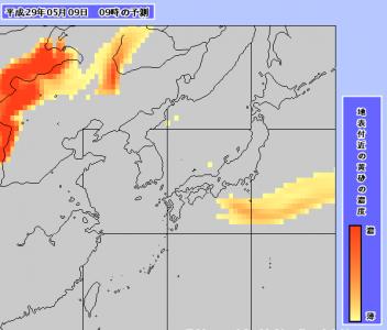 黄砂予測図(5月9日9時)