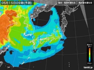 PM2.5分布予測(5月15日9時)