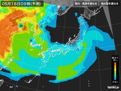 PM2.5分布予測(5月16日9時)
