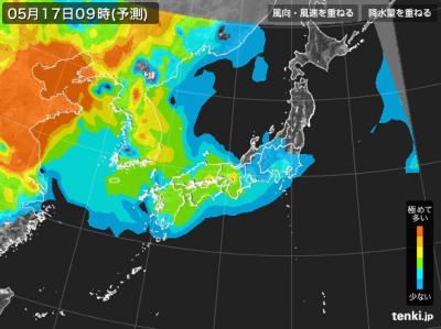 PM2.5分布予測(5月17日9時)