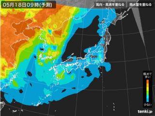 PM2.5分布予測(5月18日9時)