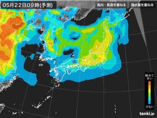 PM2.5分布予測(5月22日9時)