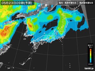 PM2.5分布予測(5月23日9時)