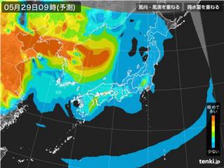 PM2.5分布予測(5月29日9時)