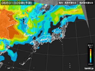 PM2.5分布予測(6月1日9時)