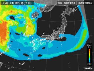PM2.5分布予測(6月3日9時)