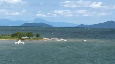 琵琶湖大橋西詰めから眺めた北湖(6月3日13時30分頃)