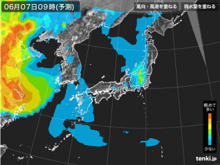PM2.5分布予測(6月7日9時)