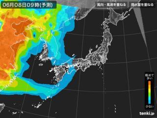 PM2.5分布予測(6月8日9時)