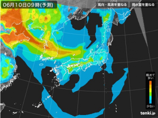 PM2.5分布予測(6月10日9時)