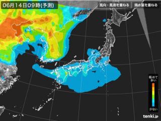 PM2.5分布予測(6月14日9時)