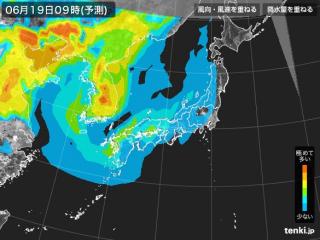 PM2.5分布予測(6月19日9時)
