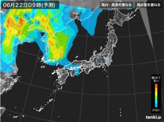 PM2.5分布予測(6月22日9時)