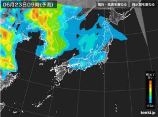 PM2.5分布予測(6月23日9時)
