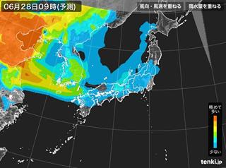 PM2.5分布予測(6月28日9時)