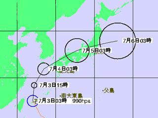 台風3号進路予想(7月3日3時)