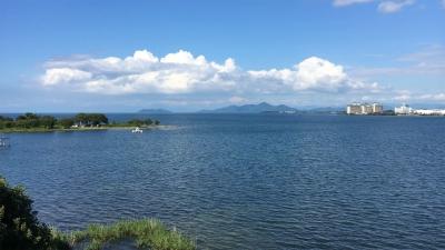琵琶湖大橋西詰めから眺めた北湖(7月21日15時50分頃)