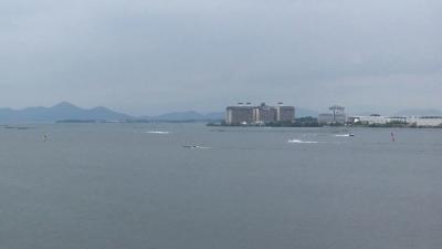琵琶湖大橋西詰めから眺めた北湖(7月23日11時50分頃)