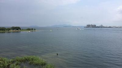 琵琶湖大橋西詰めから眺めた北湖(7月30日11時50分頃)