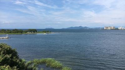 琵琶湖大橋西詰めから眺めた北湖(8月1日15時20分頃)