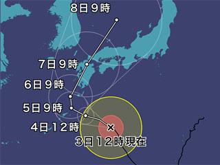 台風5号進路予想(8月3日12時現在)