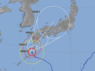 台風5号進路予想(8月5日8時現在 拡大)