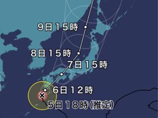 台風5号進路予想(8月5日18時現在)
