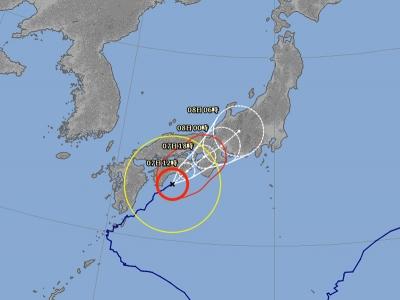 台風5号進路予想(8月7日7時現在)