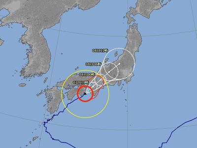 気象庁 台風5号進路予想(8月7日12時現在)
