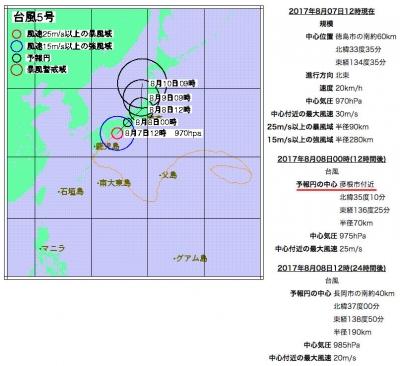 ウエザーテック 台風5号進路予想(8月7日12時現在)