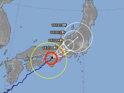 台風5号進路予想(8月7日18時現在)