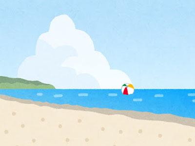 流されたビーチボール