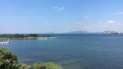 琵琶湖大橋西詰めから眺めた北湖(8月24日14時頃)