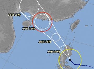 台風14号進路予想(8月25日18時現在)