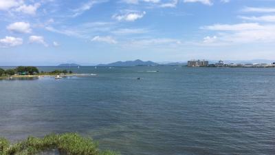 琵琶湖大橋西詰めから眺めた北湖(9月3日12時頃)