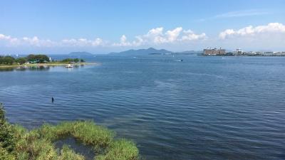 琵琶湖大橋西詰めから眺めた北湖(9月10日13時頃)