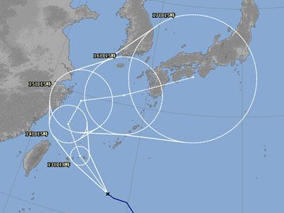 台風18号進路予想