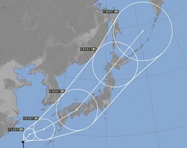 台風18号進路予想(9月14日18時現在)拡大