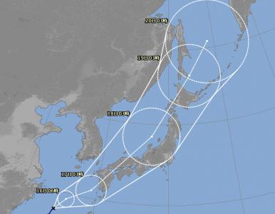 台風18号進路予想(9月15日6時現在)拡大