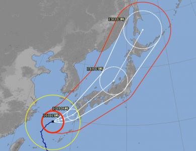 台風18号進路予想(9月16日6時現在)拡大